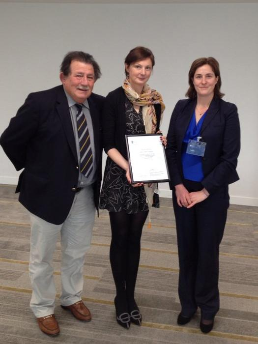 Dr Steven Kayne and Alison Pyatt receive the accreditation from  Julie Douglas, Accreditation Manager at Royal Pharmaceutical Society