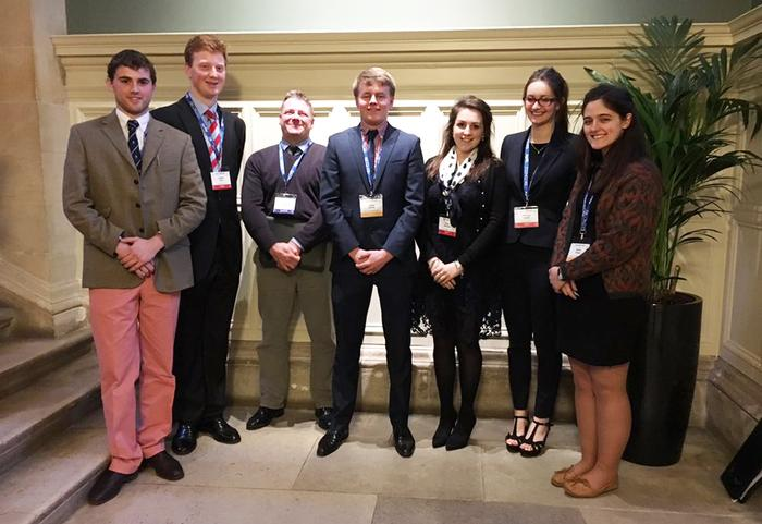 Freddie Gittus with fellow students and Harper Adams farm manager Scott Kirby at the Oxford Farming Conference