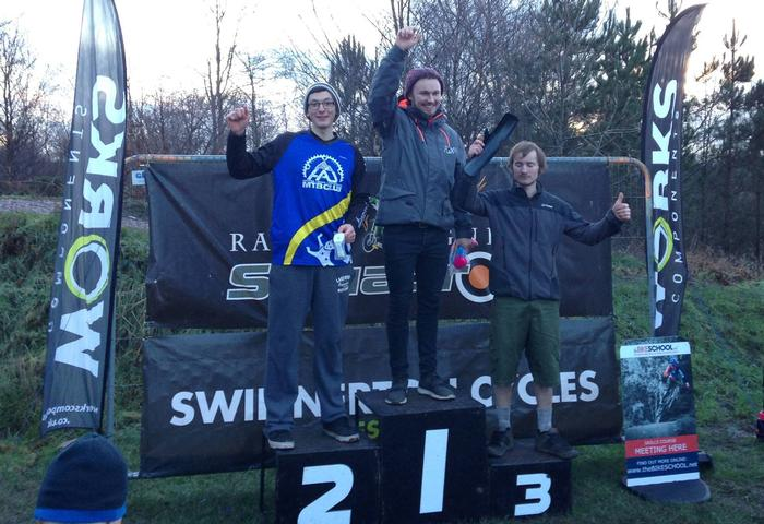 Josh Matthews, left, on the podium at the Racers Guild Winter Series