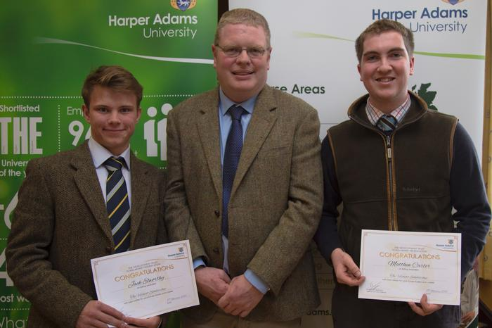 Jack, left, and Matthew, right, with Velcourt Farm Manager Mark Ward.  Farm