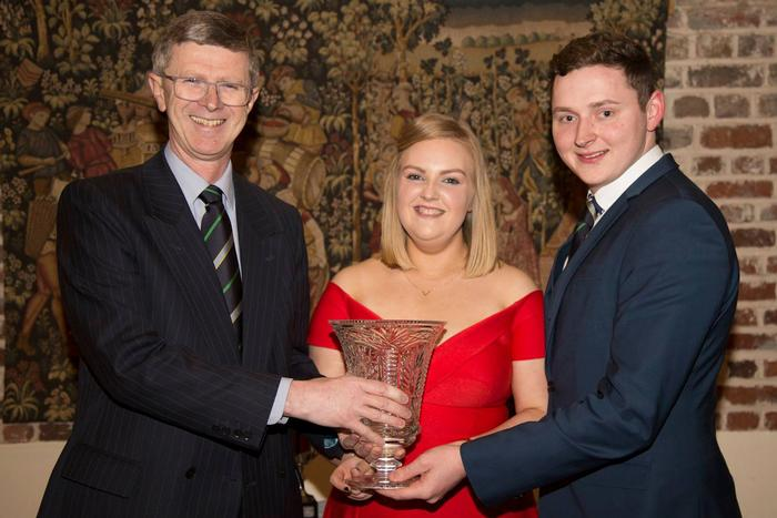 President's Prize winners Lucy Hood and David McBride with Dr David Llewellyn