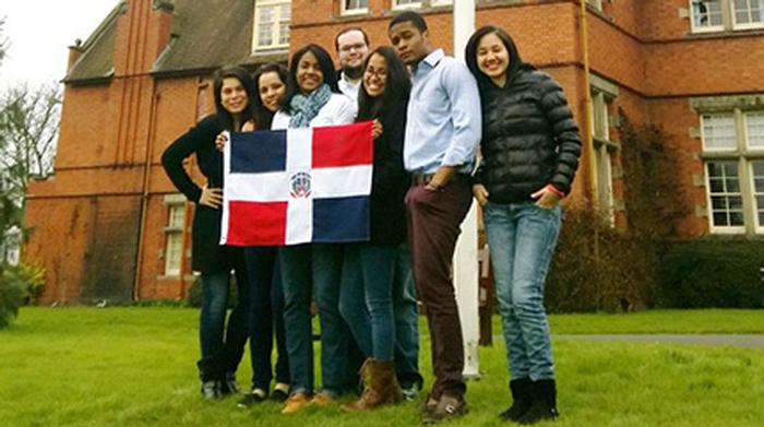 Dominican Republic students with their national flag
