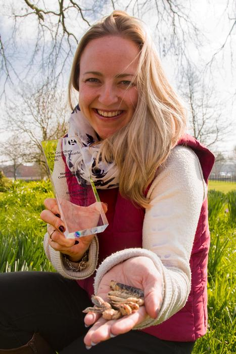 Marketing Officer Sarah Swinnerton, with the award for the Edible Bug Challenge