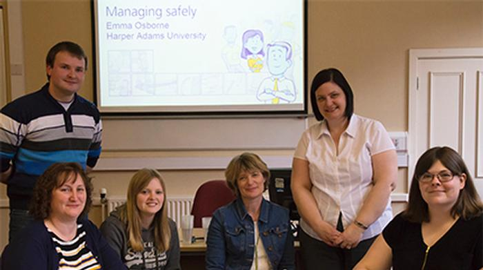 Managing Safely participants with course manager Emma Osbourne, Health and Safety Officer at Harper Adams University