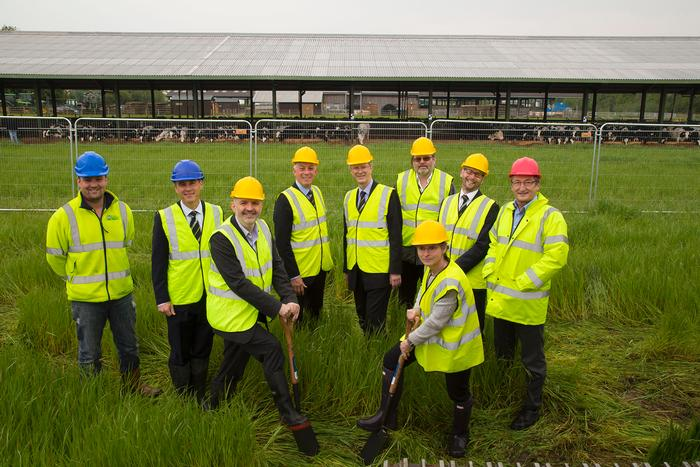 Professor Rutter and Harper Adams Finance Director Liz Furey lead the cutting of the turf to mark the start of building works for the precision dairy unit.