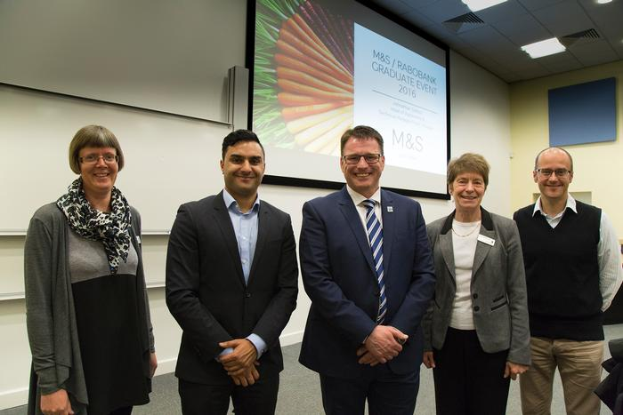 Rishi Sethi from Raboabnk and Johnathan Sutton from M&S are joined by lecturers Jane Headley, Pam Whitehouse and Terry Pickthall at the scholarship launch