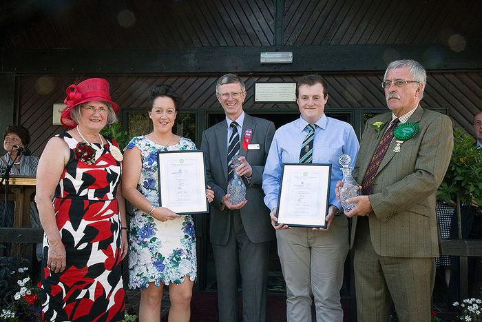 Sophie Jones and Liam Williams receive the awards from Harper Adams University Vice-Chancellor, Dr David Llewellyn; 2016 Royal Welsh President, Mr Richard Jones and his wife, Linda.