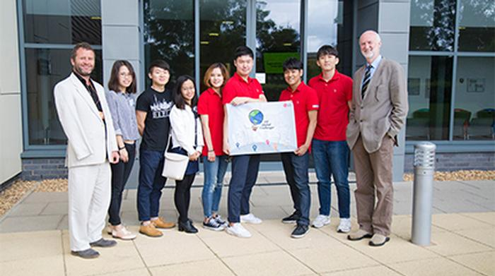 Sam Wane, Professor Simon Blackmore and current HAU students with the South Korean students