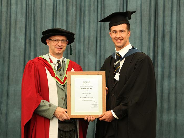 Professor Liam Sinclair presents the BSAS Award