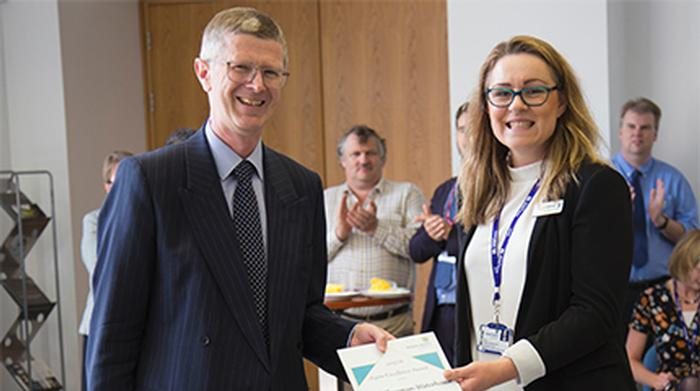 Vice chancellor Dr David Llewellyn and Emily Chapman-Waterhouse