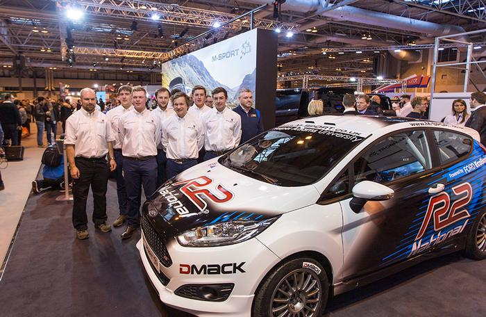 The Harper Adams Motorsport team with their new M-Sport Ford Fiesta R2 car