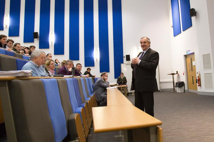Meurig Raymond presents his views to staff and students