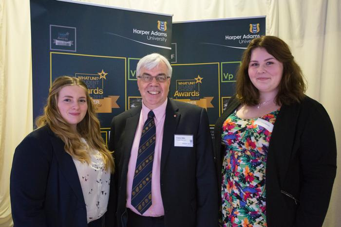 Anglia Farmers Scholarships 2017: recipients Emily Miller and Sarah Burton with Clarke Willis MBE, Group Chief Executive