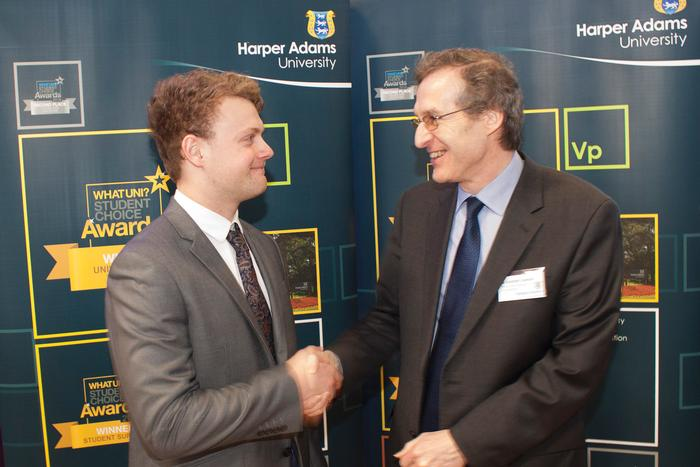 David Lawson Scholarship recipient Chaunce Barrett Crosdil with Dr Alastair Lawson