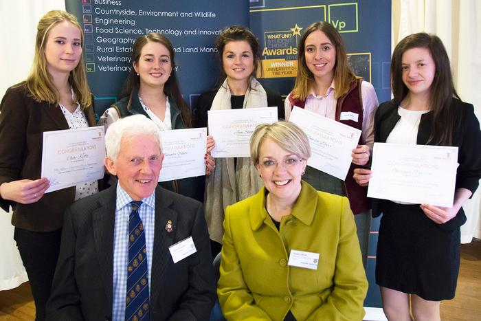 Kildare Charitable Trust Scholarships - trustee Dawn Oliver and Harper Adams Development Trust trustee Clive Gurney with scholars (back, L-R) Claire Kerby, Lucinda White, Jane Shaw, Tamsin Warr and Georgina Pearson