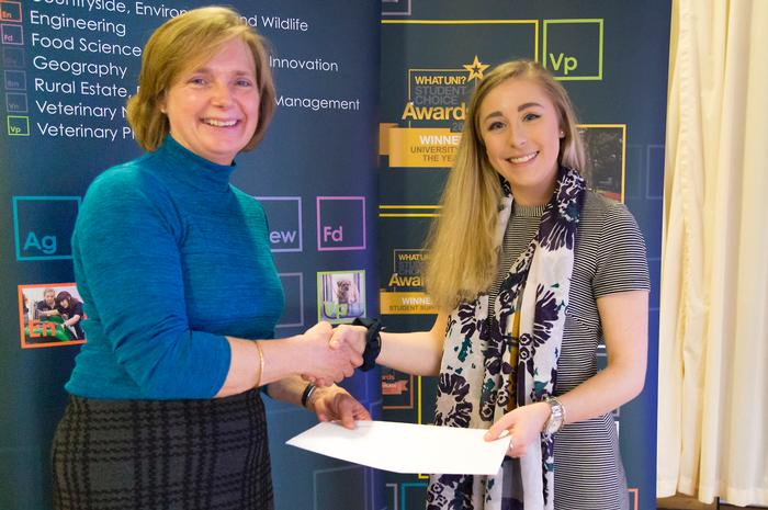 Sue Randles presents the Tulip Foods Scholarship to Claudia Lumbers