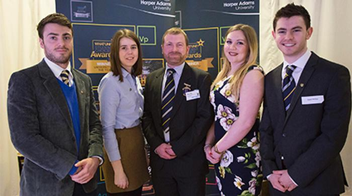 Hywel Phillips (far right) with the other Harper Adams Club scholars and the Club President Alex Law