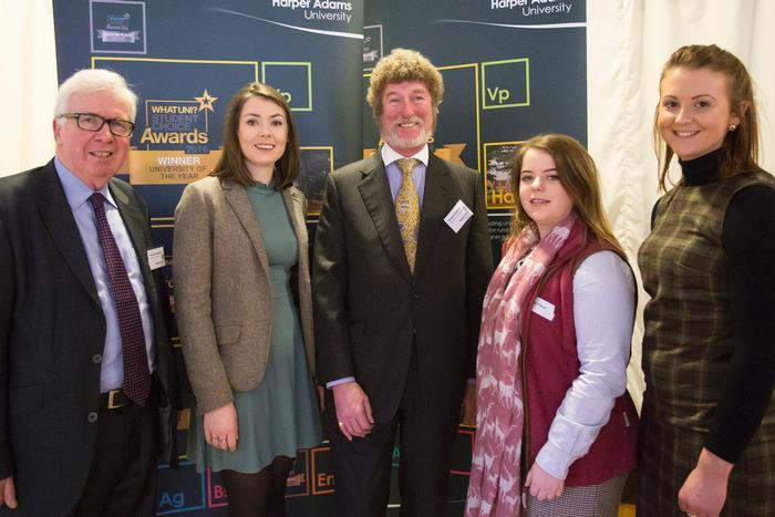 Jessica (second left) with the other Butchers & Droves scholars along with Edward Hoefling (centre) charitable trust treasurer and trustee, and Bob Bansback Visiting Professor in Agricultural Economics