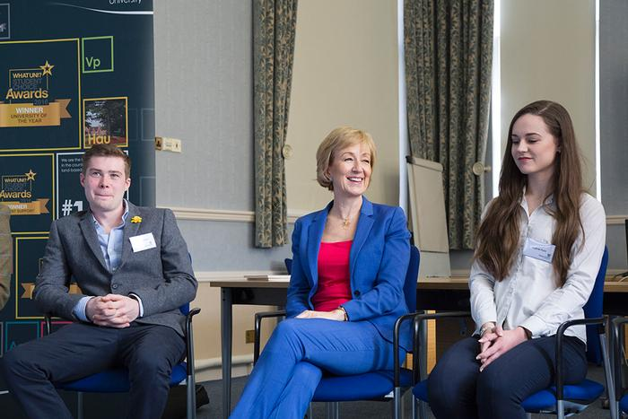 The Secretary of State posed a series of questions to the students based on her 'five principles for farming' post Brexit: trade, productivity, sustainability, trust and resilience.