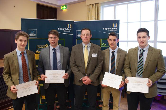 The Velcourt Scholarship, presented by Sam Briant-Evans (centre) to Matthew Dixon, Adam Jones, Christopher Lane and Eliot Greenfield