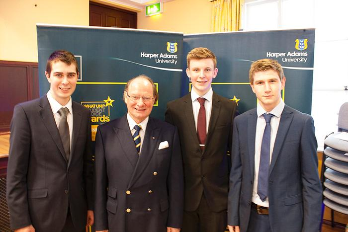 William (left) with the other Alamo scholars and Dr Geoffrey Davies OBE