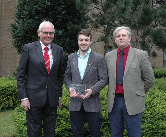 Pic cap: Chris Freeman receives his award from left, Beef Shorthorn Society's Geoff Riby, and QMS's Stuart Ashworth