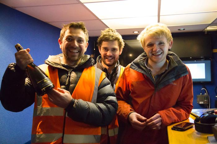The team celebrating the successful drilling. L:R Jonathan Gill, Kit Franklin and Martin Abell