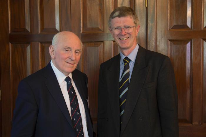 L:R Peel Holroyd, Chairman of the Harper Adams University Temperton Fellowship for Poultry Research and Dr David Llewellyn