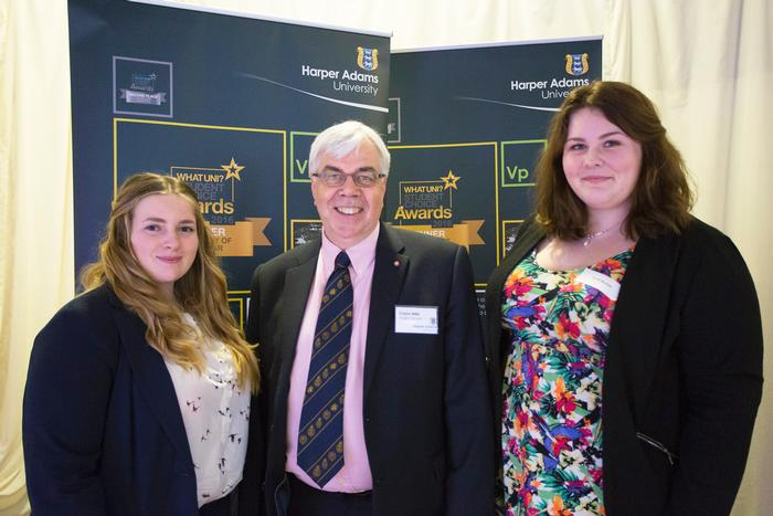 Emily (left) and Sarah (right) with Anglia Farmers Group Chief Executive Clarke Willis MBE