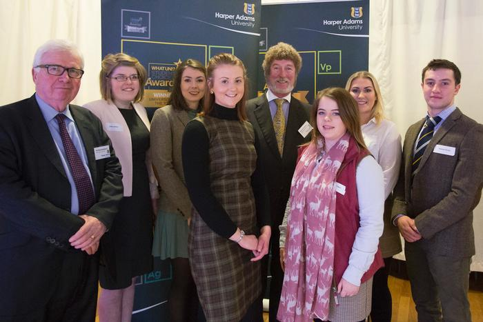 Clare James. Jessica Tomley, Harriet Noble. Susan O'Neill, Ashley Ramsey and Gwesyn Davies, with Edward Hoefling (centre) charitable trust treasurer and trustee, and Bob Bansback Visiting Professor in Agricultural Economics