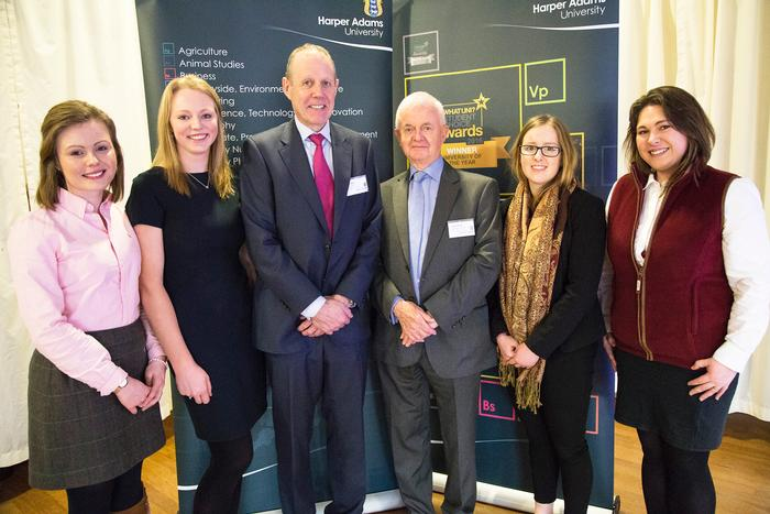 Clyde Higgs Undergraduate Scholars Jayne Bennett, Amy Bere, Claire Jenkins and Rebecca Erskine, with Elizabeth Creak Charitable Trust trustees, Paul May and John Hulse