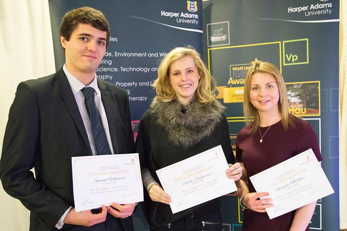 Gressingham/British Poultry Council Scholars Samuel Whitmore, Sophie Langmead and Shannon McNiece