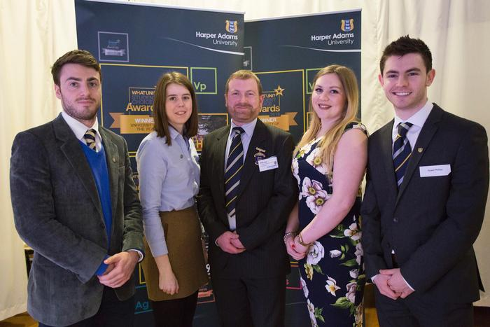 Harper Adams Club scholars, pictured with club President Alex Law, centre, are Christopher Freeman, Hannah Rose, Jessica Spencer and Hywel Phillips