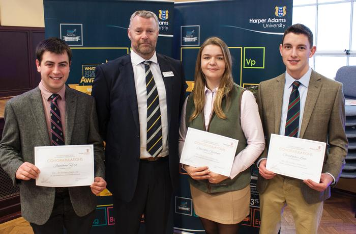 Jill Willows scholarship recipients Jonathan Hird, Charlotte Garbutt and Christopher Lane, with Harper Adams lecturer John Donaldson, who presented the awards
