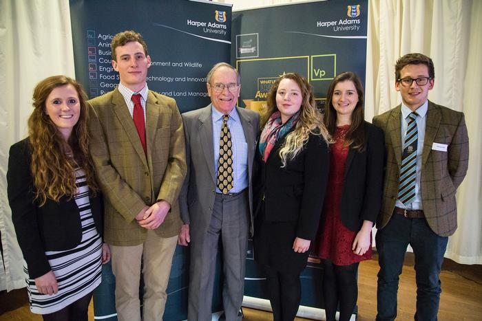 John Longwill Agricultural Scholarship recipients with trustee Charles Clarke. L-R Harriet Livesey, Laurence Fox, Charles Clarke, Kate Hepplewhite, Harriet Martin and Nicholas Wright.