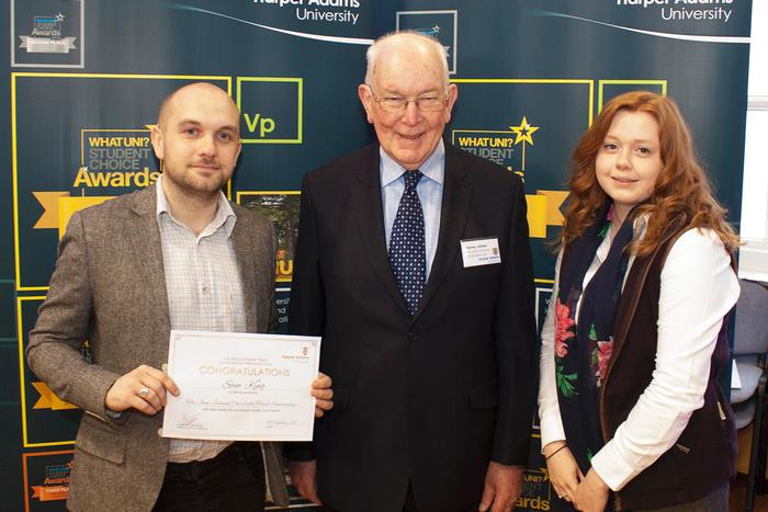 Jean Jackson Charitable Trust Scholars Sam King and Dwynwen Williams with trustee Harvey James