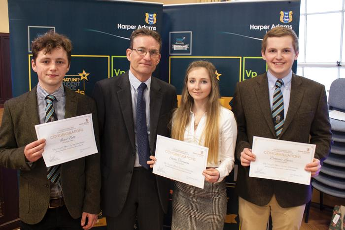 Cargill Meats Europe, British Poultry Council scholarships. Scholars Isaac Bebb, Sophie Thornton and Dominic Lucas, with John Reed, Chairman of the British Poultry Council