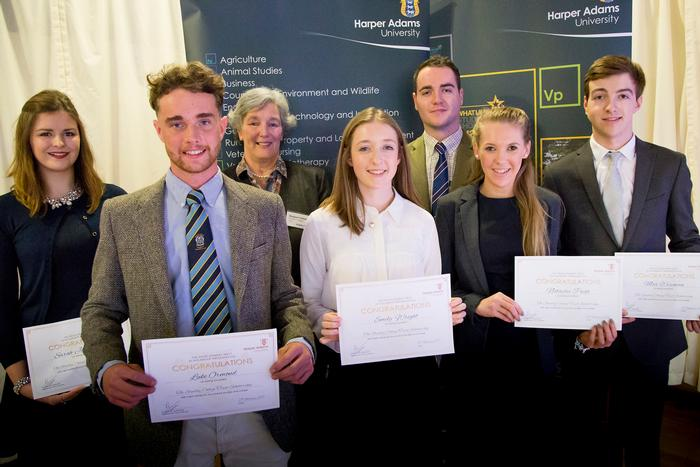 Studley College Trust Scholarship recipients, with Margaret Herbert, trustee. L_R Sarah-Jane Barton, Luke Ormond, Margaret Hibbert, Emily Wright, Daniel Liddell, Natasha Push and Max Wiseman