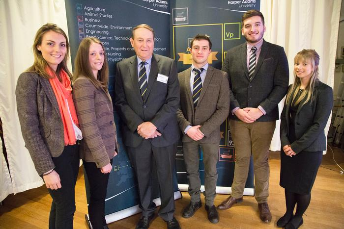 Jerman scholars Eleanor Lloyd, Lauren Hall, Gwesyn Davies, William Sean Jeffreys and Bethan Howells, with Bill Madders, who presented the awards.