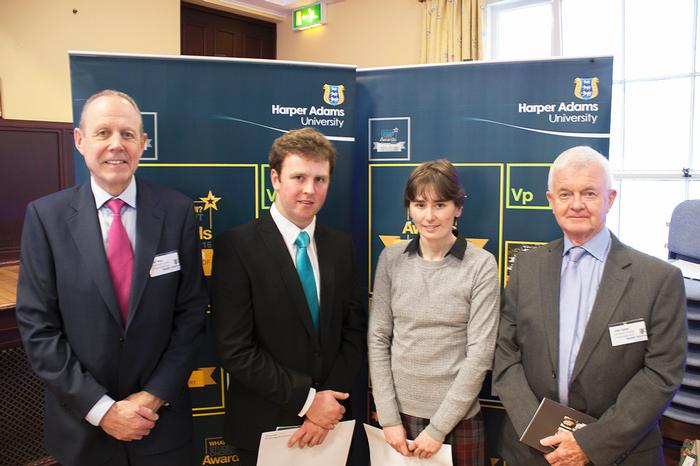 Clyde Higgs MSc scholars Tara O'Neill and Thomas Peach with Paul May and John Hulse, representing the Elizabeth Creak Charitable Trust