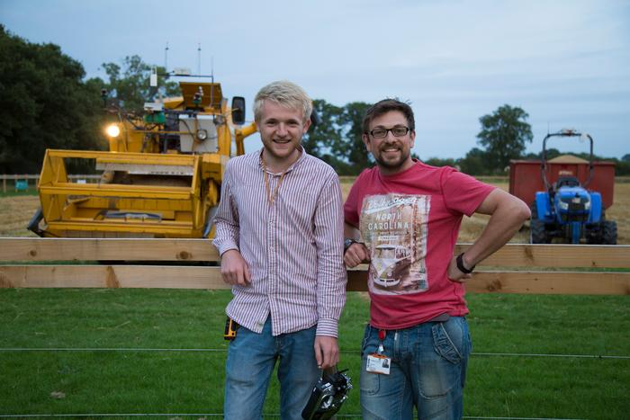 L:R - Martin Abell and Jonathan Gill after the harvesting had been completed