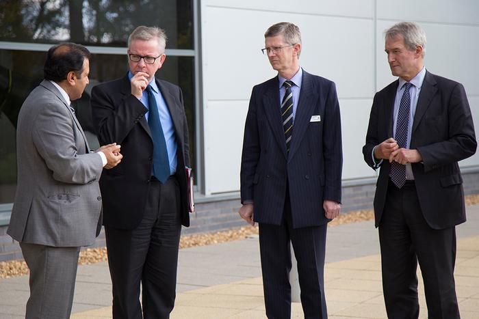 Head of Engineering Parmjit Chima, Michael Gove, University Vice Chancellor Dr David Llewellyn and Owen Paterson MP