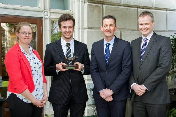 Andrew Harrison, pictured when he won Dairy Student of the Year, with from left, Kite Consulting's Abby Cook; RABDF chairman, Mike King; Kite Consulting's Edward Lott