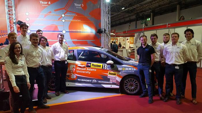 The Harper Adams Motorsport team with their improved M-Sport Ford Fiesta R2N car