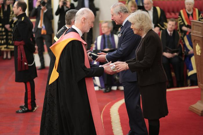 Their Royal Highnesses The Prince of Wales and The Duchess of Cornwall presenting the Prize to Dr Llewellyn and Professor Blackmore
