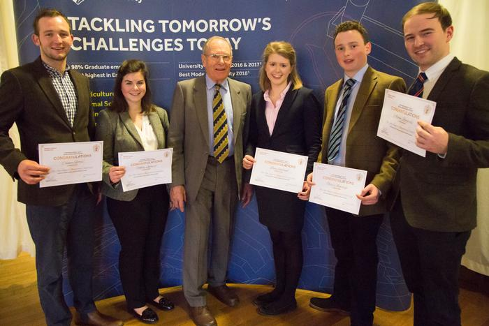 Mr Charles Clark with from L- R: Connor Fettes, Mollie Gilbert, Lucy Earland, Giles Armitage, Adam Ringrose