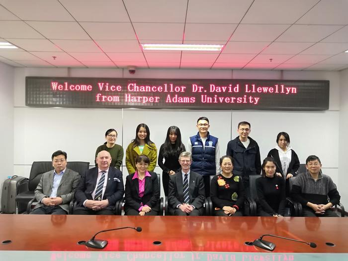 Staff and students from the joint Masters programme at China Agricultural University, with Professor Han Lujia (to the right of the Vice-Chancellor, seated, centre)