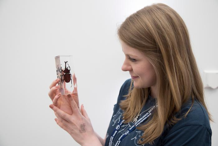 Ashleigh Whiffin with a beetle