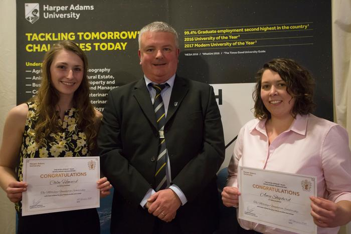 Dr Andy Wilcox with Chloe Howard and Amy Shepherd