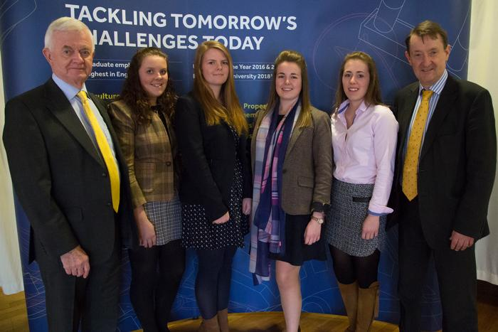 John Hulse and Nick Abell with Aimee Ash, Hannah Brown, Amy Stoner and Emily Morris